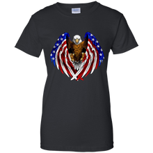 Load image into Gallery viewer, Black American Flag Eagle Wings T-shirt