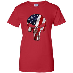 Red American Flag Skull T-shirt