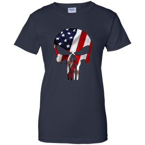 Navy Blue American Flag Skull T-shirt