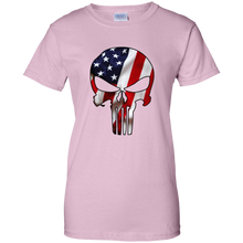 Load image into Gallery viewer, Light Pink American Flag Skull T-shirt