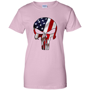 Light Pink American Flag Skull T-shirt