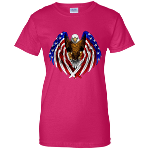 Pink American Flag Eagle Wings T-shirt