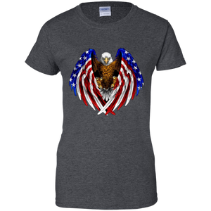 Charcoal Grey American Flag Eagle Wings T-shirt