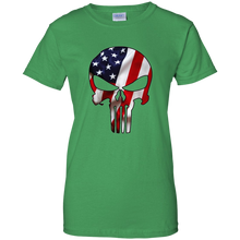 Load image into Gallery viewer, Green American Flag Skull T-shirt