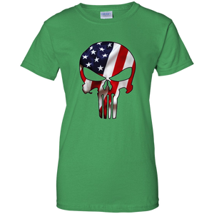 Green American Flag Skull T-shirt