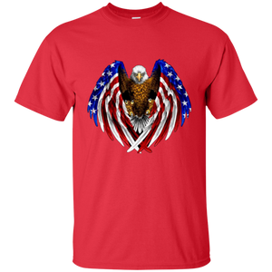 Red American Flag Eagle Wings T-shirt