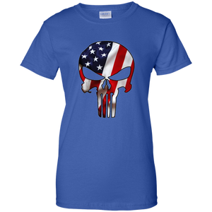 Royal Blue American Flag Skull T-shirt