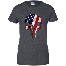Load image into Gallery viewer, Charcoal Grey American Flag Skull T-shirt