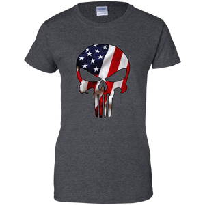 Charcoal Grey American Flag Skull T-shirt