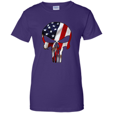 Load image into Gallery viewer, Purple American Flag Skull T-shirt