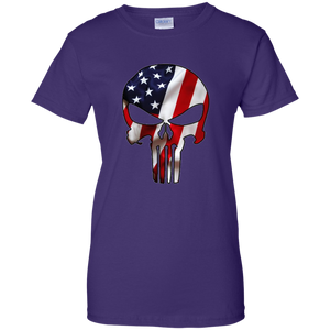 Purple American Flag Skull T-shirt