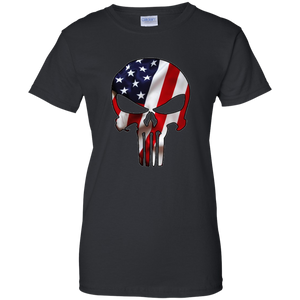 Black American Flag Skull T-shirt