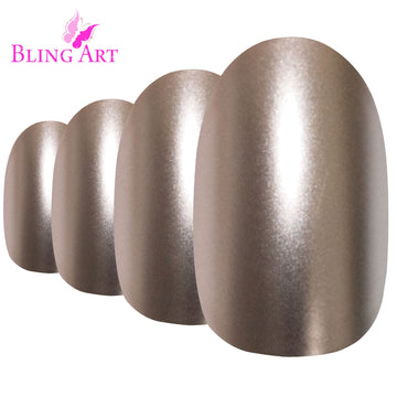 False Nails by Bling Art Beige Matte Metallic Oval Medium Fake Acrylic Tips Glue
