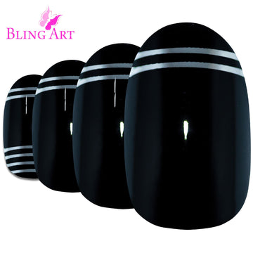 False Nails by Bling Art Black Silver Glossy Oval Medium Fake 24 Acrylic Nail Tips