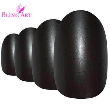 False Nails by Bling Art Black Matte Metallic Oval Medium Fake Acrylic Tips Glue