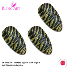 False Nails Bling Art Gold Black Almond Stiletto Long Fake Acrylic Tips with Glue