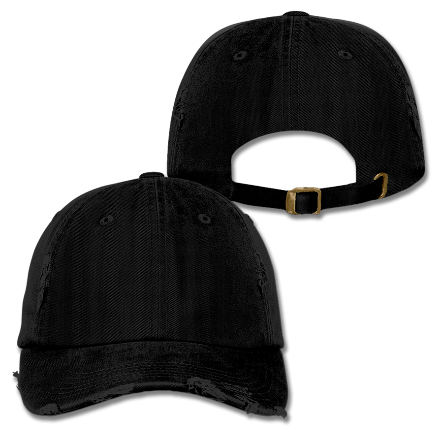 Custom Black Distressed Dad Hat