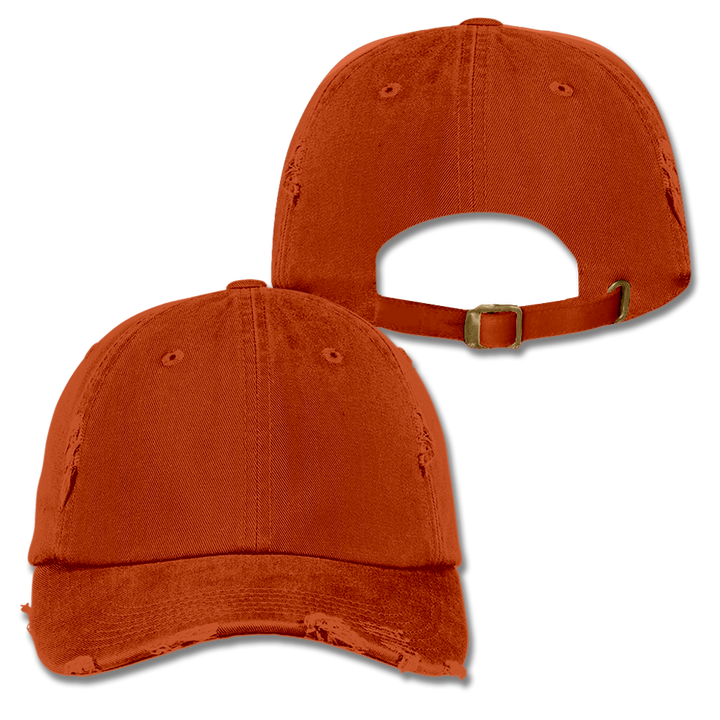 Custom Orange Distressed Dad Hat