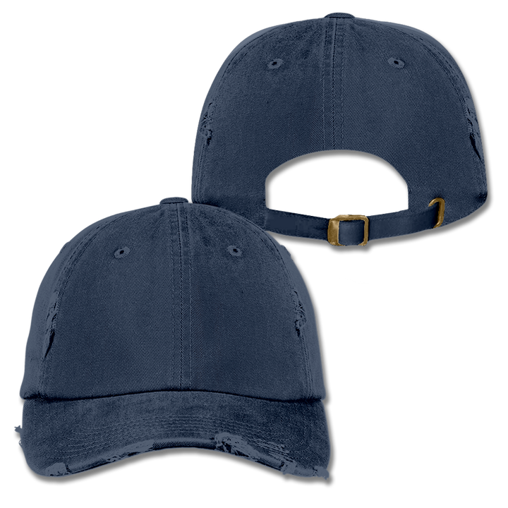 Custom Navy Distressed Dad Hat