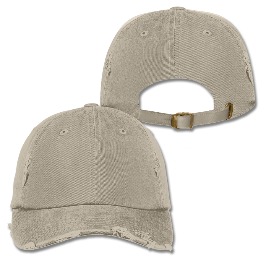 Custom Khaki Distressed Dad Hat