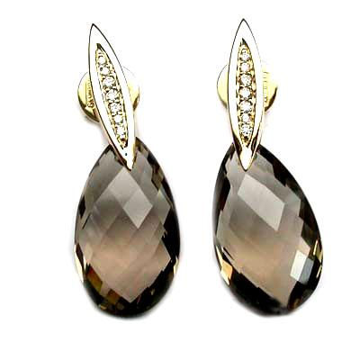 18k Yellow Gold 1 3/16'' Smokey Quartz & Diamond Earrings