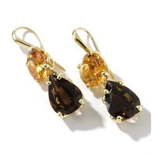 18k Gold 1 5/8'' Multi Gem Camelot Earrings