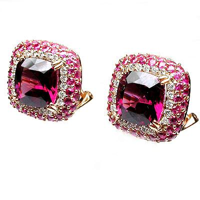 18k Gold 11/16'' Multi Gem & Diamond Stud Earrings