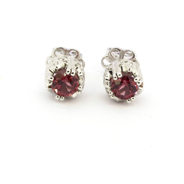14k Gold 1/4'' Rhodolite & Diamond Stud Earrings