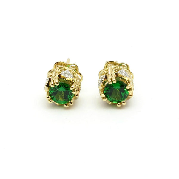 14k Gold 1/4'' Tsavorite & Diamond Stud Earrings