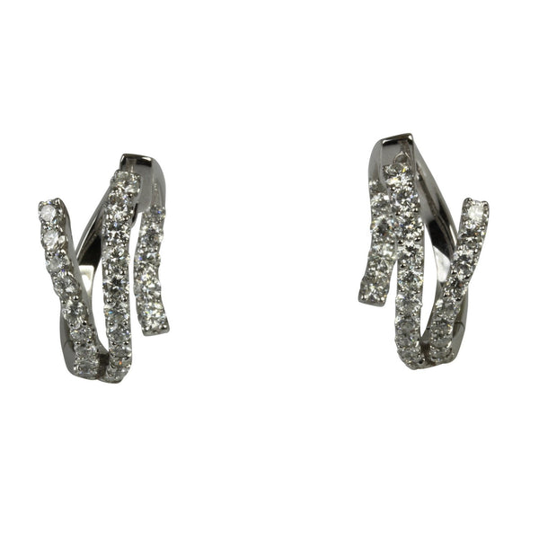 18k Gold 3/4' Diamond Abstract Hoop Earrings