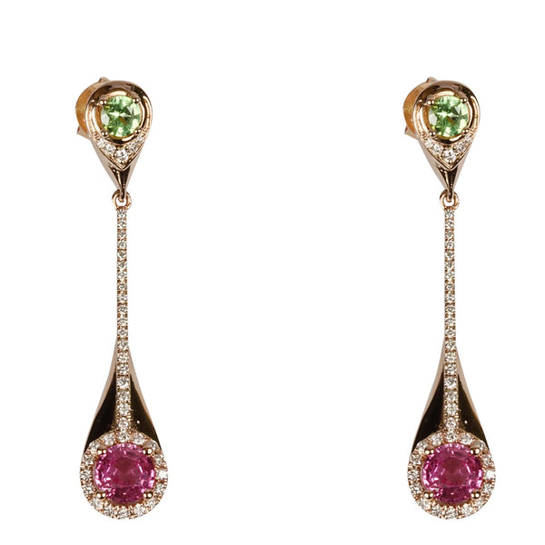 14k Gold Pink Sapphire, Mint Garnet & Diamond Earrings