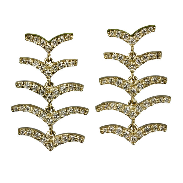 14k Gold Diamond 'v' Chandelier Earrings