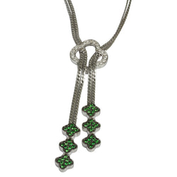 14k Gold 17'' Tsavorite & Diamond Clover Lariat Necklace