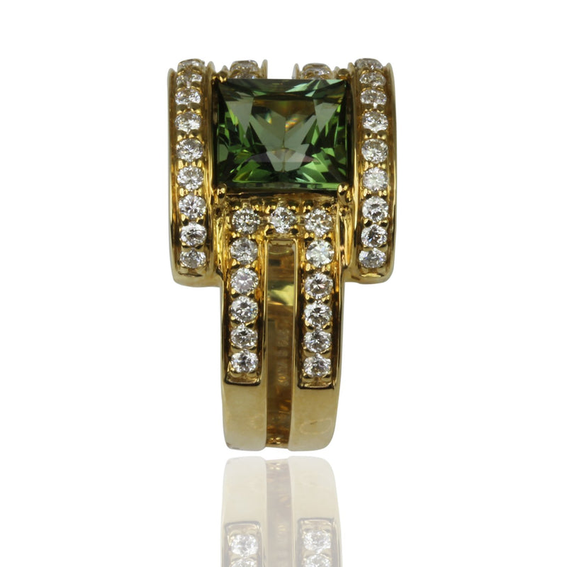 18k Gold Princess Cut Green Tourmaline & Diamond Ring