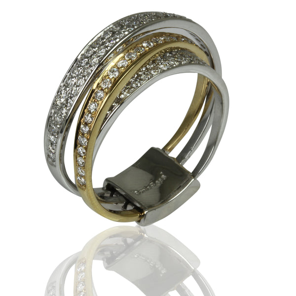 14k Two Tone Gold Diamond Bypass Ring