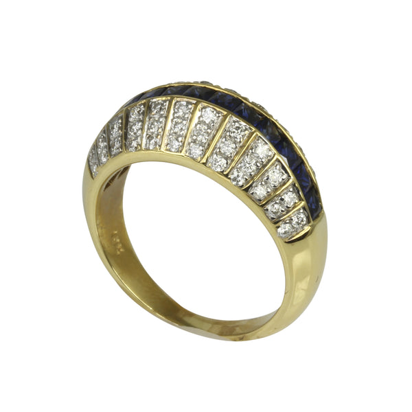 18k Two Tone Gold Blue Sapphire & Diamond Art Deco Ring