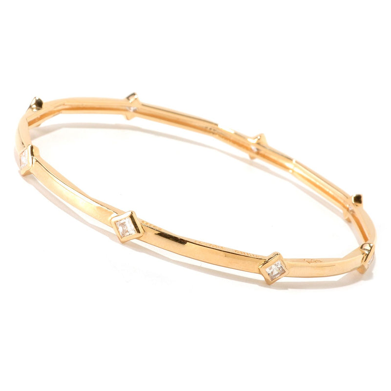 Gold Plated Ss 8 1/2'' Bezel Set Cz Bangle Bracelet