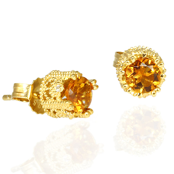 Plated SS Madeira Citrine & Cz Stud Earrings