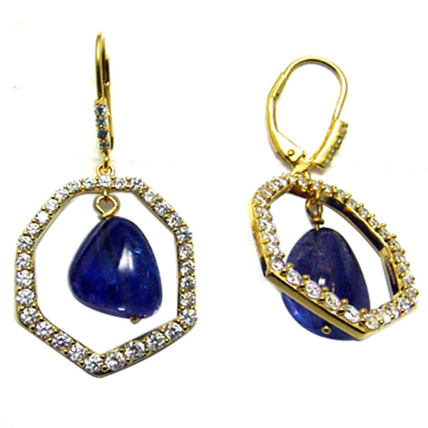 Plated SS Tanzanite Bead & Cz Earrings
