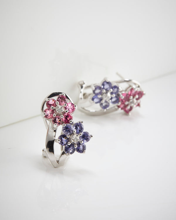 Plated Ss Pink Tourmaline, Iolite Earrings