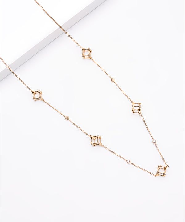 Plated SS & Cz 24'' Round Cut Cube Necklace