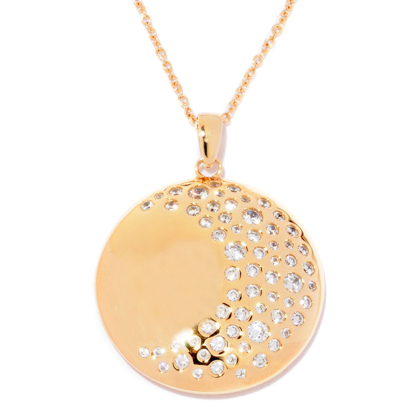 Plated SS & Cz Round Cut Burnished Moon Necklace
