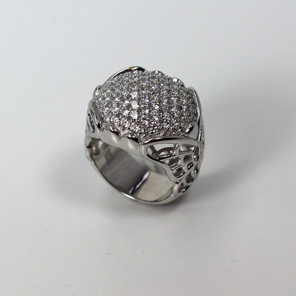 Plated SS & Cz Pave Ring
