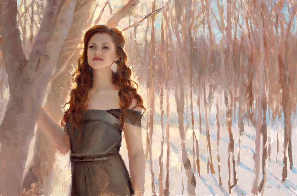 Portrait Painting of Woman in a snowy winter forest. Figure in the Landscape oil painting by Karen Whitworth