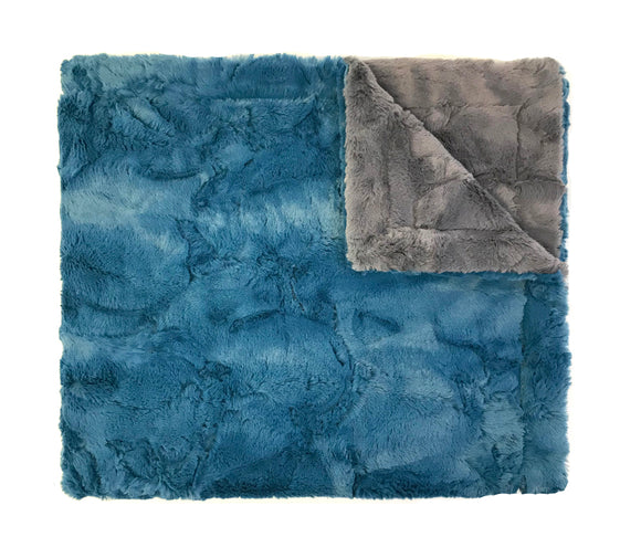 Colorblock Minky Blanket blue/grey