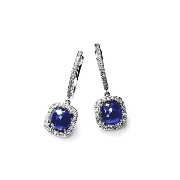 Cushion Cut Sapphire and Diamond Drop Earrings, 14K White Gold
