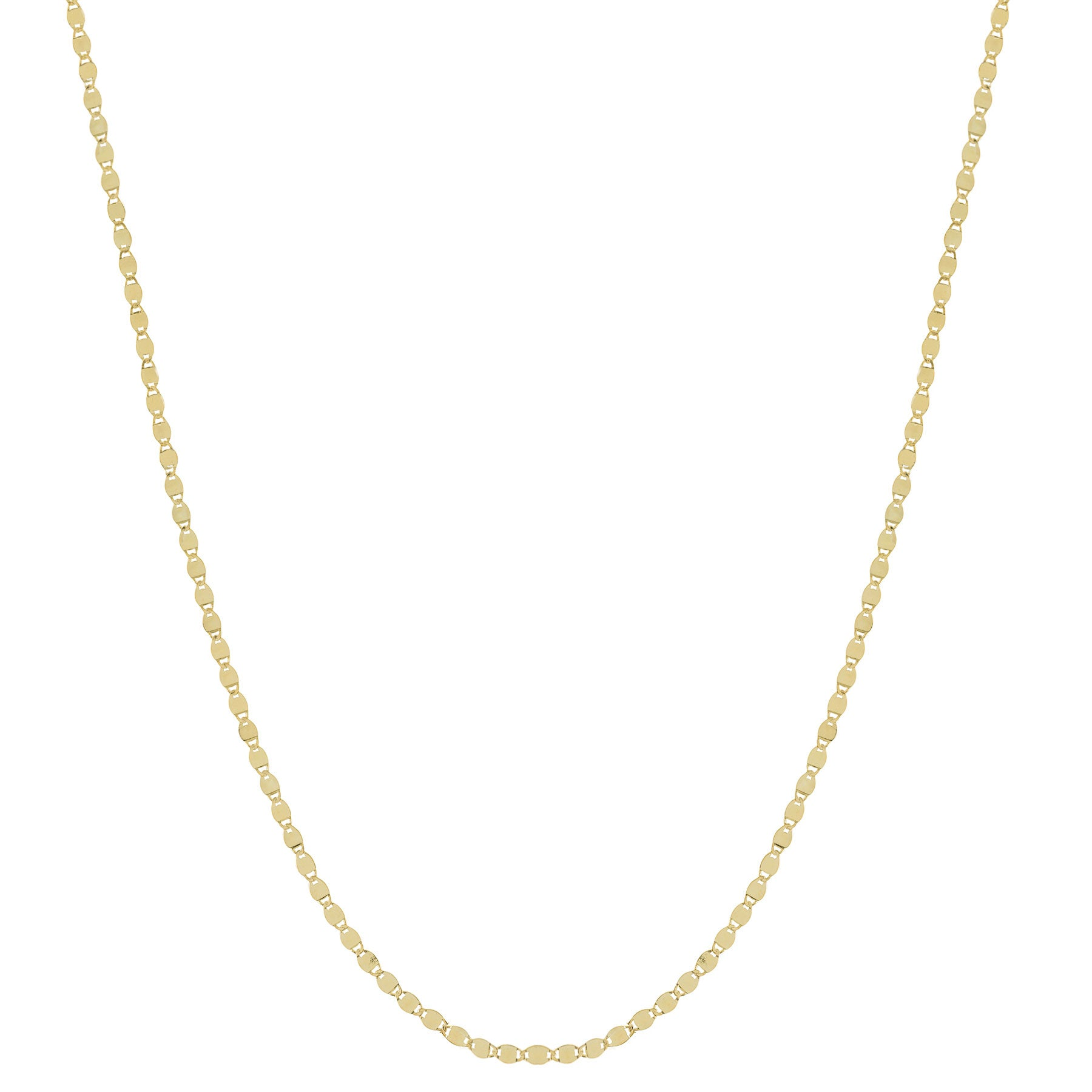 Flat Mirror Chain Necklace, 36 Inches, 14K Yellow Gold