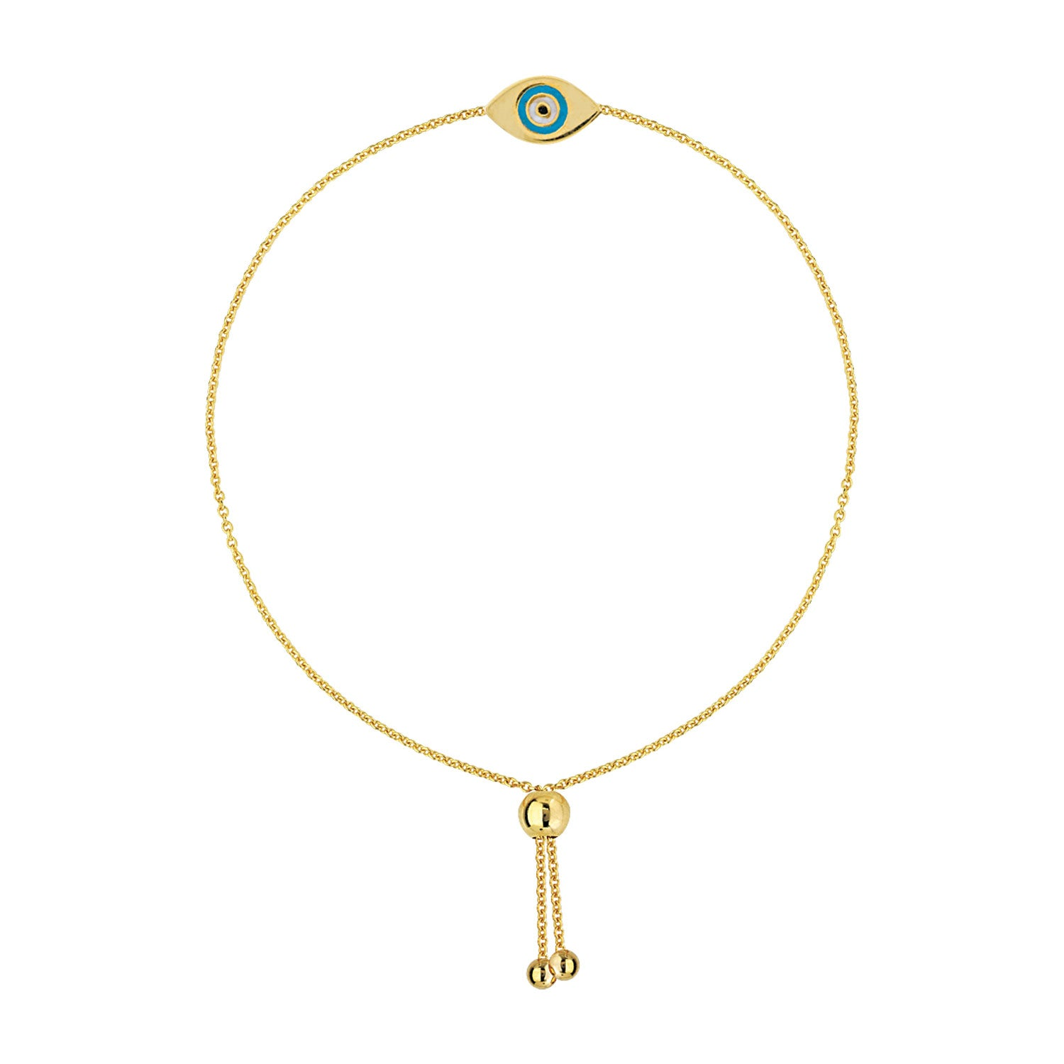 Evil Eye Bolo Bracelet, 14K Yellow Gold