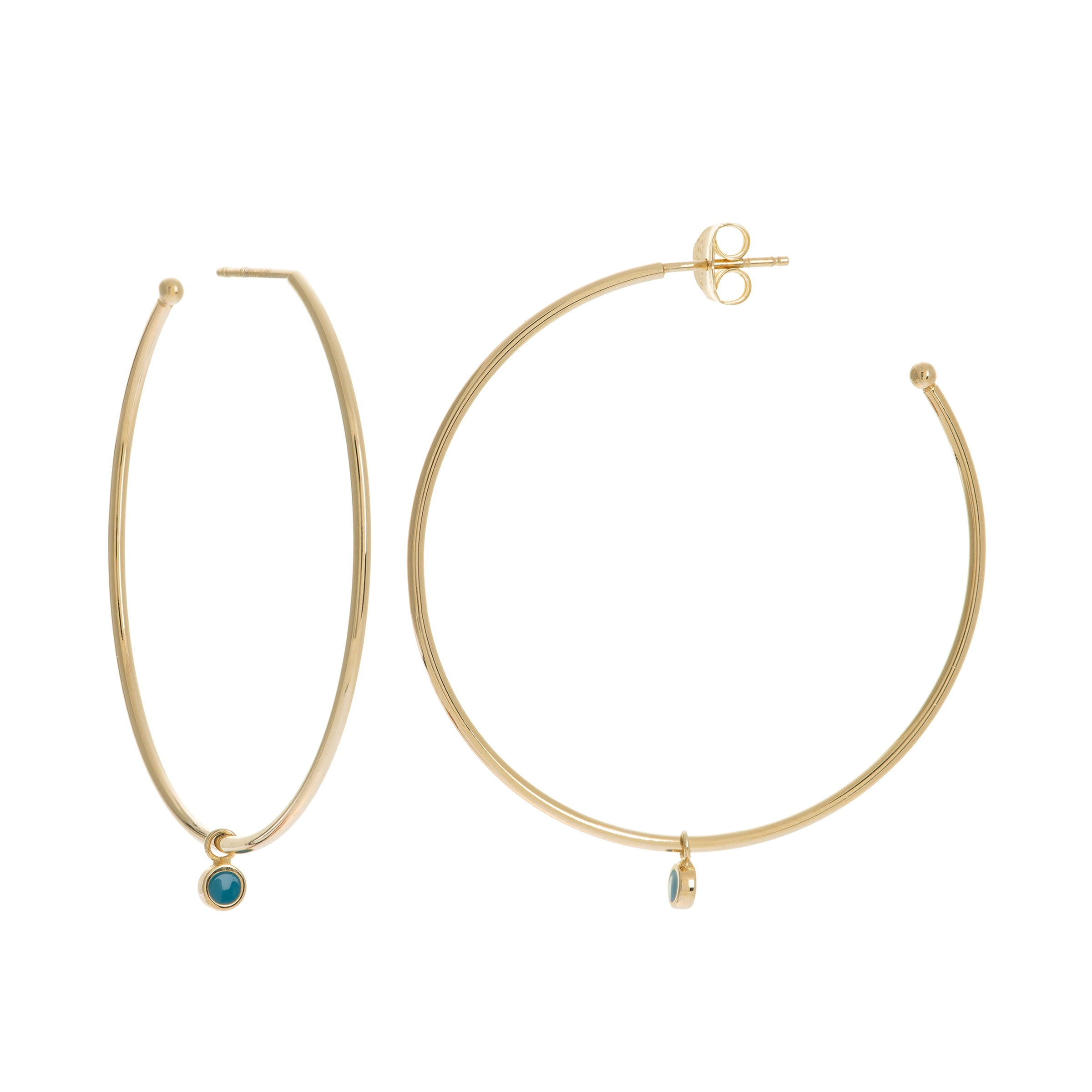 Large Hoop Earrings with Blue Enamel Dangle, 1.60 Inches, 14K Yellow Gold