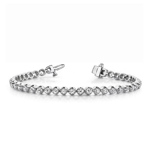 Bezel Set Diamond Tennis Bracelet, 1 Carat, 14K White Gold